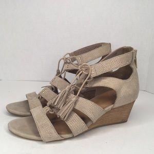 UGG tan suede wedge sandals.